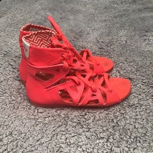 Awesome Adidas strappy sandals neon pink